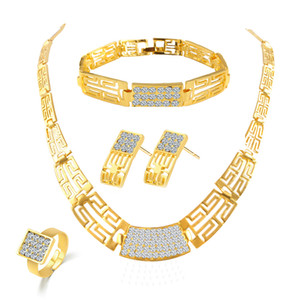 Bridesmaid Jewelry Set Vintage Necklace Bracelet Earrings Rings Like Indian African Dubai 18k Gold Jewelry Sets Wedding Party Jewellery Sets on Sale