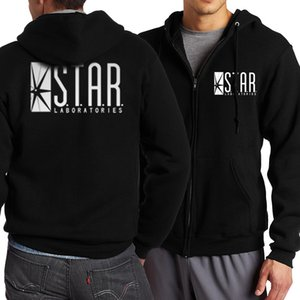 Wholesale The Flash STAR S T A R Labs Men Sweatshirt Spring Autumn Men Zippered Hoodies Fashion Tracksuit Movie Fans Hip Hop Jacekt