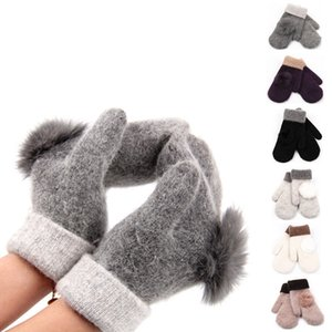 Wholesale Womens Knitted Knitting Wool Gloves Winter Warm Rabbit Fur Ball Top Pom Pom Thick Mittens For Lady