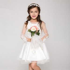 Flower Girl Dresses Real Photo Long Sleeve Applique Brithday Dress For Kid's Party Ball Gowns Applique Cute First Communion Custom Made BB09