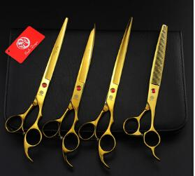 Wholesale new arrival inch a set profeessinal pet gold flat teeth Curved scissors hair scissors set kits scissors sets suit pet scissors