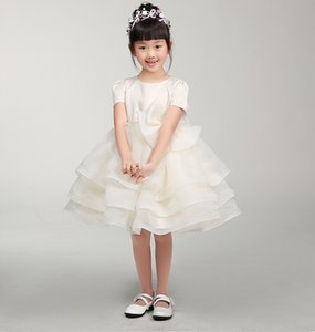 Wedding Party Jewel Neck Long Flower Girls' Dresses Formal Organza Short Sleeves Knee Length A-line Zipper Pretty Birthday Party Dress on Sale