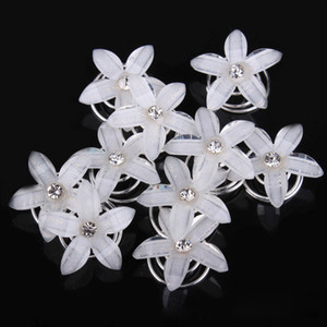 Wholesale 20 x Rhinestone Diamate Crystal Wedding Bridal Hair Spin Pins Twists Coils white resi Flower Swirl Spiral Hairpins Fashion Jewelry