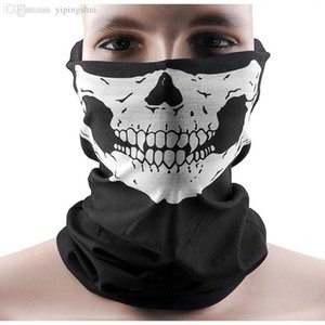 Wholesale-2015 New Skull Half Face Bandana Skeleton Ski Motorcycle Biker Paintball Mask Scarf Unisex Black Wholesale Hot Sale