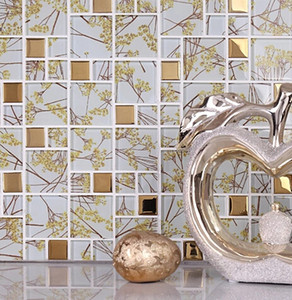 Wholesale art glass mosaic tile for sale - Group buy Beige color glass mosaic tiles Home improvement design ceramic mosaic tiles wall mounted mosaic tile wall mosaic tile art