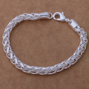 Free Shipping with tracking number Top Sale 925 Silver Bracelet Braided faucet Bracelet Silver Jewelry 10Pcs lot cheap 1574