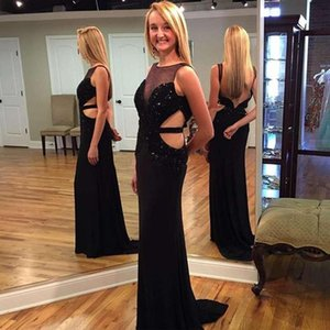 Wholesale Black Illusion Evening Dresses 2016 Jewel Formal Sheath Backless Prom Party Dress Custom made Sleeveless Cutaway Side Fashion Dress