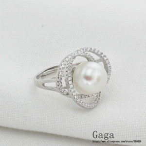 Wholesale Gaga Natural Real Freshwater pearl Rings Real Silver rings for women weddings jewelry ring slim