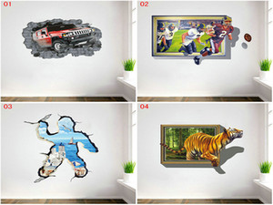 Wholesale DHL Mix Styles Cartoon d paper decor wall stickers for kids rooms hot wall painting Kids Wall paper stickers decals