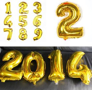 Wholesale Balloons For Wedding Silver Gold Alphabet Numbers Helium Balloons inch Foil Balloon Birthday Party Wedding Decoration E466L