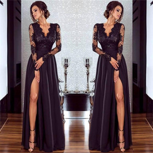 2018 New Sexy Black Lace Formal Evening Dresses Illusion Long Sleeves Side Split Prom Dresses Women Party Gowns Floor Length