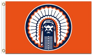 Hot Sale 3x5ft Illinois Fighting Illini Chief Flag 100% Polyester Digital Printing Custom Flags and banners