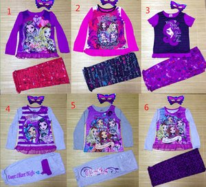 Newest 6 styles new Girl Monster High School Summer Clothing Sets Girl's Children ever after high T Shirt top+ Pants kids Suits on Sale