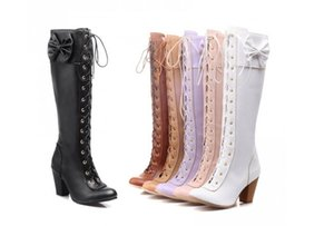 Sweet Bow Leather Lace-up Wedding Shoes High Heeled 7CM Round Toe Shape Boots Over-the-knee Boot Mutil Colors Size US 4-9 PU