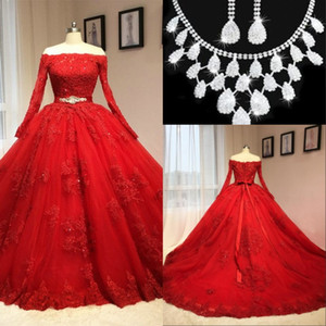Wholesale 2017 Modest Vintage Long Sleeves Lace Ball Gown Wedding Dresses Arabic Off-the-shoulder Bridal Gowns Lace Appliques Blackless Wedding Gowns