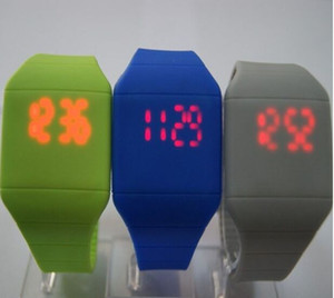 Wholesale Hot selling color new Colorful Soft Led kids Touch watch Jelly Candy silicone digital feeling screen watches