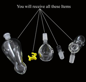Wholesale 3 Functions piece Helix hand pipe with clip Glass Vase Perc Water Percolator mm joint