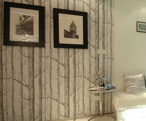 Wholesale Hot Birch Tree pattern non-woven woods wallpaper roll modern designer wallcovering simple black and white wallpaper for living room