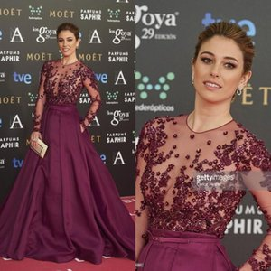 Blanca Suarez celebrity red carpet dress sheer jewel neck ball gown long sleeves pearls applique runway evening dresses prom gowns BO7945 on Sale