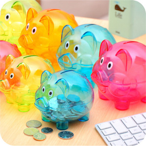 Wholesale Storage BottlWedding gifts Lovely Candy colored transparent plastic piggy bank money boxes Princess crown Pig Piggy Bank Kids Girls JK12