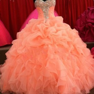 Wholesale 2015 Christmas Quinceanera Dresses Floral Sweetheart Ball Gown Royal Organza Pleated Sweet Coral Prom Dress Evening Gowns