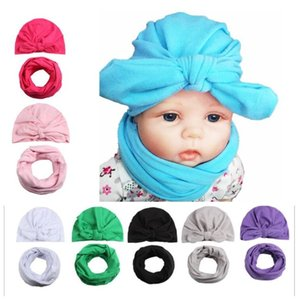 Wholesale Fashion Baby girls Bowknot beanies Caps Hats Scarf Collars Suit Children s hat head cap baby hat pc hat pc scarf
