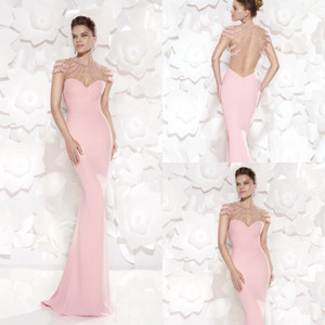 Mermaid Pink Chiffon Evening Dress for Party Over Vestidos De Noche Beaded Appliques Cap Sleeves See Through Sweetheart on Sale