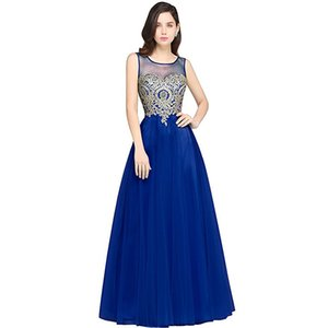 Wholesale 2019 Real Arabic Prom Dresses V Neck Sleeveless A Line Floor Length Appliques Pageant Pearl Soft Tulle Evening Graduation Dresses