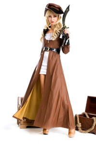 Wholesale Cosplay Sexy Pirate Costumes For Women Deluxe Pirate Captain Costume White Dress Rhinestone Belt Sword Uniforms Outfits