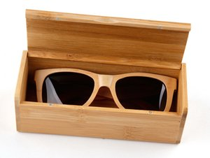 Wholesale 2016 Natural Bamboo Sunglasses Cases Gift Box full wooden frame and Wooden Temples with fashion style and spring hinge