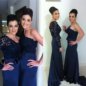 Wholesale 2015 New Hot Bridesmaid Dresses With One Shoulder Long Sleeve Ribbon A Line Sweep Train Satin Lace Elegant Navy Prom Pageant Party Gowns new