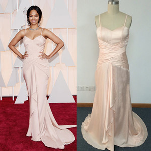 2015 Oscar Red Carpet Celebrity Dresses Nude Pink Sheath Spaghetti Corset Boned Bodice Gathered with Ruffles Zoe Saldana Dresses DHYZ 01 on Sale
