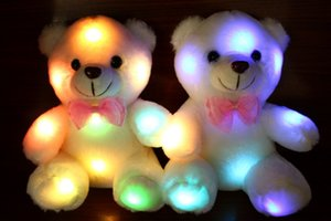 Wholesale cm Creative Light Up LED Teddy Bear Stuffed Animals Plush Toy Colorful Glowing Teddy Bear Christmas Gift for Kids Hot