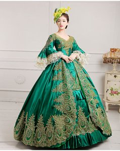 Wholesale luxury green embroidery golden lace medieval dress renaissance Gown queen Dress Victorian Marie Antoinette Colonial Belle Ball