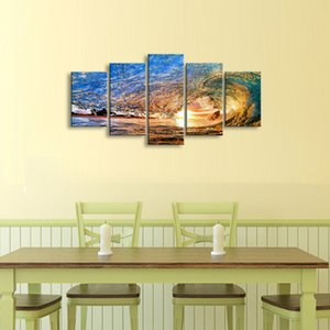 Wholesale 5 pieces high definition print Waves canvas oil painting poster and wall art living room picture PL5