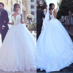 Wholesale cheaper wedding dress resale online - Said Mhamad Applique Lace A Line Wedding Dresses Cap Sleeve V Neck Lace up Back Bridal Gown Cheaper