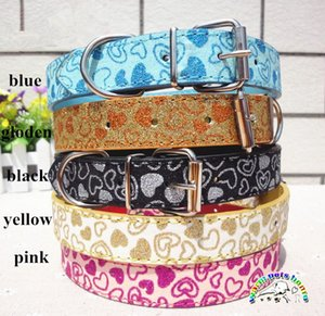 New Arrival Love Heart Collar Leather Pet Dog Collar Size S,M,L bling collar for dogs Wholesale