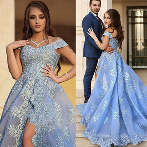 Blue Lace Applique Evening Dresses Formal Long Applique Off the Shoulder Side Split Beads Prom Dresses Party Gown vestidos festa Court Train on Sale
