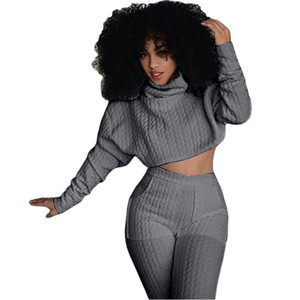 Wholesale Women Two Pieces Set Knit Fitted Crop Tops Casual Pant Suits Fashion Ladies Jogger Lounge Set WDC900 S XXL
