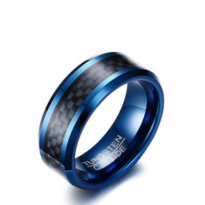 Wholesale tungsten rings men for sale - Group buy Bulk Blue Tungsten Rings for Men Wedding Bands mm Men s Carbon Fiber Tungsten Carbide Men Ring Jewelry US Size