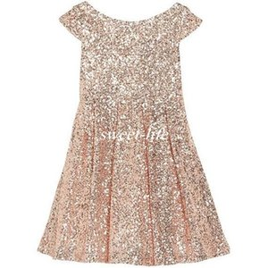 Wholesale 2019 Girls Pageant Dresses Bling Rose Gold Sequin Bateau Capped Sleeveless Zipper Tea Length Ruched Cheap Wedding Flower Girl Dresses A Line
