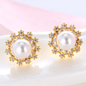 Wholesale Trendy Cooper Brincos Rose Gold Pearl Stud Earrings For Women Zircon One Direction Earrings Fashion Jewelry Boucle D oreille