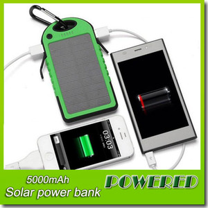 Wholesale -2016 Hot 5000mAh 2 USB Port Solar Power Bank Charger External Backup Battery With Retail Box For iPhone iPad Samsung Mobile Phone