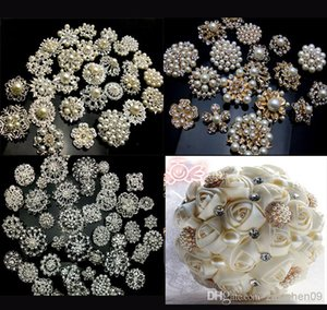 20P SILVER   GOLD X Mixed Bulk Wedding Bridal Decoration Silver Colour Flower Crystals Brooches Brooch Bouquet Rhinestones 001 on Sale