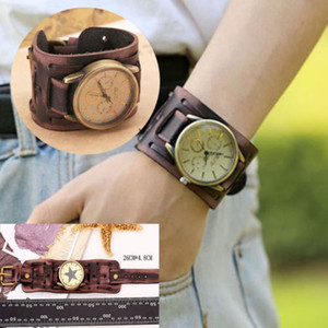 Wholesale Great Men Women Retro Punk Big Wide Leather Bracelet Wristband Cuff Watch Unisex Match