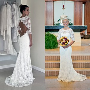 Wholesale sexy open back beach wedding dresses for sale - Group buy 2018 Sexy Mermaid Wedding Dresses Crew Neck Open Back Illusion Sleeves White Lace Beach Bridal Gowns