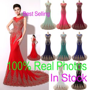 In Stock Sheer Neck Formal Evening Prom Dresses Lace Appliques Mermaid Red Black Blue Mint Pageant Mother Gowns 2019 Real Image Arabic on Sale