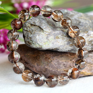 Clear Natural Genuine Coffee Mica Titanium Hair Needle Rutile Quartz Rutilated Finished Stretch Bracelet Round Jewelry beads 10mm 04100