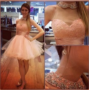 Wholesale Mini Short Homecoming Dresses Pink Pearls Lace Halter Beaded Elegant Tulle Custom Made Sexy Cocktail Evening Prom Party Dresses