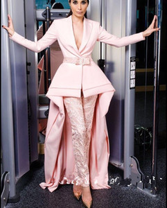 Wholesale Pink Long Sleeve Jumpsuits Evening Dresses Deep V Neck With Sash Elegant Satin Guest Dress Prom Gowns